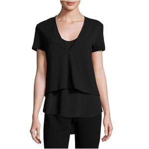 Theory Zadeia Fixture Short-Sleeve Top Black Silk